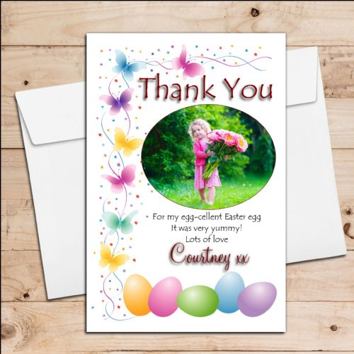 10 Personalised Girls Boys Easter Egg Thank you Photo Post Cards N2